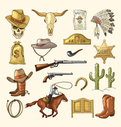 colored of wild west symbols vector image vector image