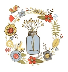 Colorful card with flowers in a jar and floral vector image vector image
