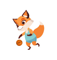 cute fox character playing basketball funny vector image