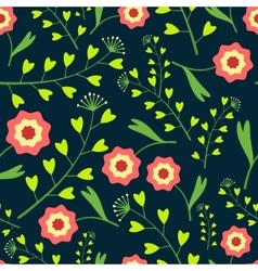 Dark Pattern with Flowers and Grass vector image
