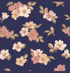 Dog-rose blooms wild rose seamless pattern vector