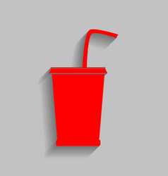 Drink sign red icon with vector