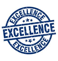 Excellence blue round grunge stamp vector