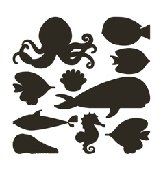 Fish oyster octopus whale shell and sea horse icon vector