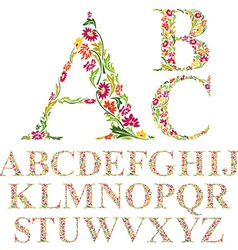 Font made with leaves floral alphabet letters set vector