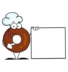 Friendly Donut Presenting A Blank Sign vector image vector image