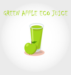 Glass bio fresh green apple juice vector