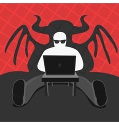 Hacker and Cmputer Devil vector image