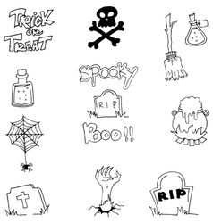Halloween doodle element zombie tomb vector