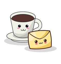 Kawaii coffee cup envelope mail image vector