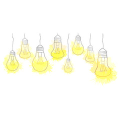 Linear of hanging light bulbs with watercolor vector