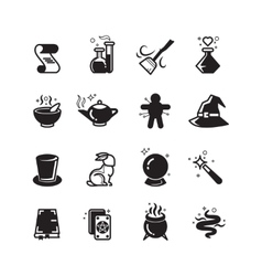 Magical icons set vector