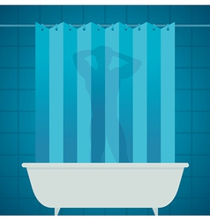 Man silhouetter in shower bathing bathroom vector