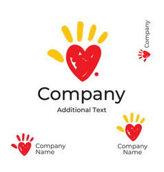 Modern logo with heart and palm of the hand vector