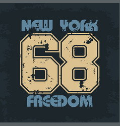 new york athletic wear with lettering freedom vector image vector image