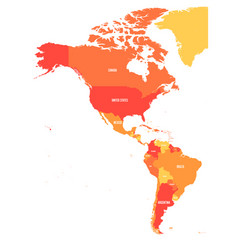 Political map of americas in four shades of orange vector