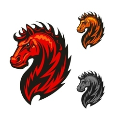Red horse with bright flaming mane vector