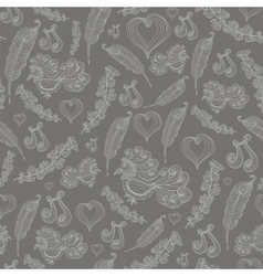 Seamless abstract pattern with grey bird of vector image vector image