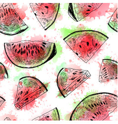 seamless watercolor pattern with watermelon vector image