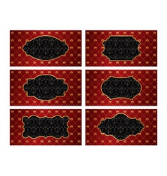 Set of vintage golden labels with red damask vector image vector image