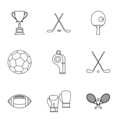 Sports accessories icons set outline style vector image vector image