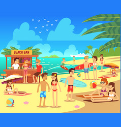 Summer sea beach with sunbathing relaxing young vector