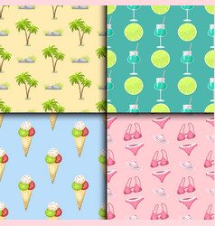 Summer time seamless pattern beach sea shore vector