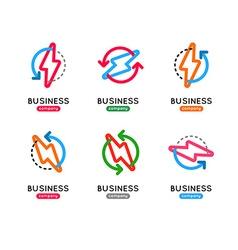 Thunderbolt icon set thunderbolt business logo vector