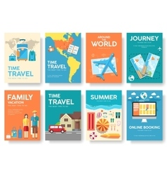Tour of the world brochure set travel vector