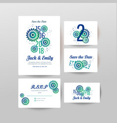 Wedding collection floral poster invite vector