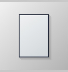 White poster with black frame on grey wall vector