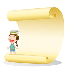 A smiling girl and a paper sheet vector image