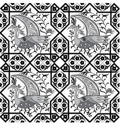 seljuk style iznik seamless pattern vector image