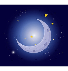 A white crescent in the sky vector image