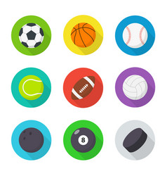 Sports balls set flat cartoon balls vector