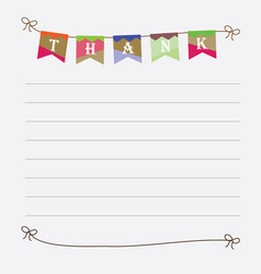 Thank you sign with colorful bunting flags image vector