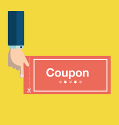 Business hand holding red coupon discount coupon vector