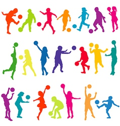 Colored kids silhouettes playing with balls vector