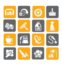 Silhouette car wash objects and icons vector