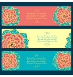 Set of three abstract floral banners vector