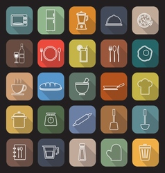 Kitchen line flat icons with long shadow vector