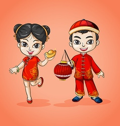 Man and woman from china vector