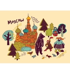 Moscow city color scene vector