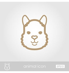 Lama outline thin icon animal head symbol vector