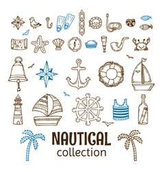 Hand drawn nautical collection marine icon set sea vector