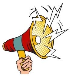 Pop art megaphone design loudspeaker cartoon vector