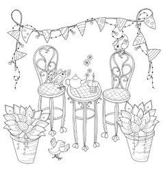 Cute birthday tea time in flowers vector