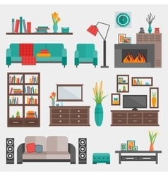 Flat furniture interior icon set vector