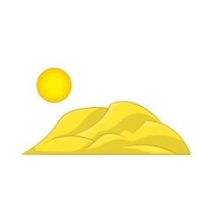 Mountain and the sun icon cartoon style vector