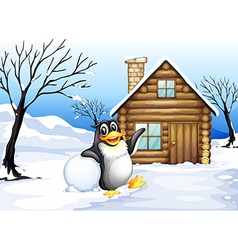A penguin outside the house vector